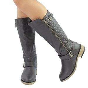 Brown quilted knee high boots